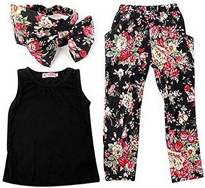 Jastore® Set de ropa niñas bebé 3 piezas/ camisa sin mangas Tops + + pantalones de flores de ropa con banda
