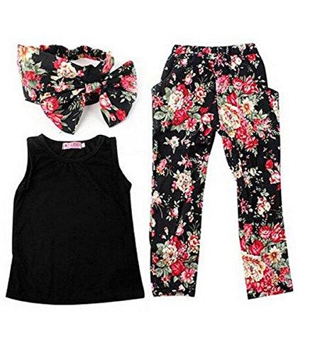 Jastore® 3pcs Outfit Set Sommer nette Baby Kind Kleidung Weste/ Tops + Hosen + Blumen-Stirnband für 2-6 Jähriges Mädchen, black, 120