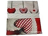 COINGROSTEX Completo Lenzuola in Cotone, per Letto Matrimoniale 2 Piazze, Modello Cuore Colore Rosso