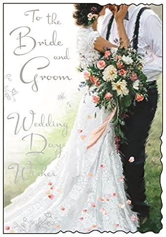Grußkarte (jj8601)–Hochzeit–Braut und Bräutigam–Hochzeit Day Wishes–Samt Range–geprägt, Flitter und Folie Finish