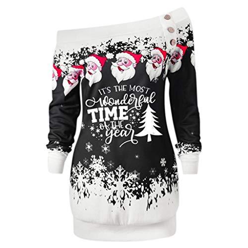 BIKETAFUWY Damen Frohe Weihnachten Santa Snowflake Off Shoulder Langarmshirt Pullover Loose Mode Santa Claus Weihnachtsbaum Weihnachten Kapuzenpullover Blusen