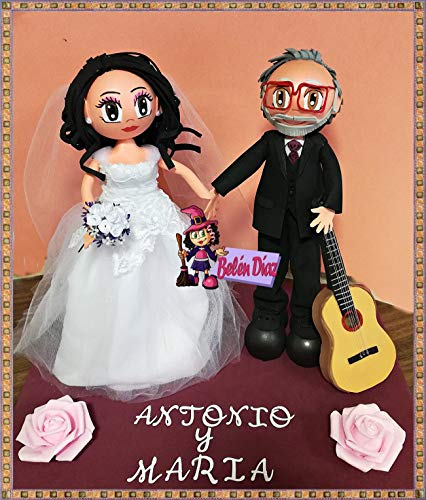 Fofuchos figura pareja novios con guitarra boda tarta 35 cms. personalizados