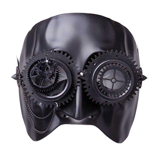 GEEKINVADER Venezianische Steampunk Maske mit Zahnrädern Katzenmaske mit Binokular Halbes Gesicht mit Zahnrädern über 14 Modelle (87367-9007-0000) (Steampunk Cosplay Ideen)