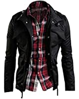 Zicac NEW Men's Military Slim Fit Spring Summer Jacket Blazer Coat Rider Zip Button Casual Long Sleeve Outwear Long Trench Coat