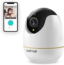 Wireless IP Kamera Kompatibel mit Alexa Echo Show, 360 Grad Weitwinkel, Netvue Home WiFi Sicherheit Überwachungskamera mit Bewegungserkennung(Europa adapter) (EU-PT-1080)