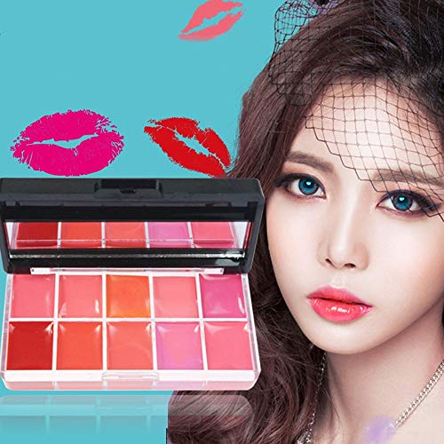 Make-Up Lippenstift-Palette Set 10 Farben Gelee Lippenstift Sexy Long Lasting Moisturizing Lipstick...
