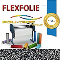 (EUR 29,14 / Quadratmeter) GLITZER FLEXFOLIE BÜGELFOLIE 1 METER x 500mm POLI-FLEX PREMIUM GLITTER SILVER 8435