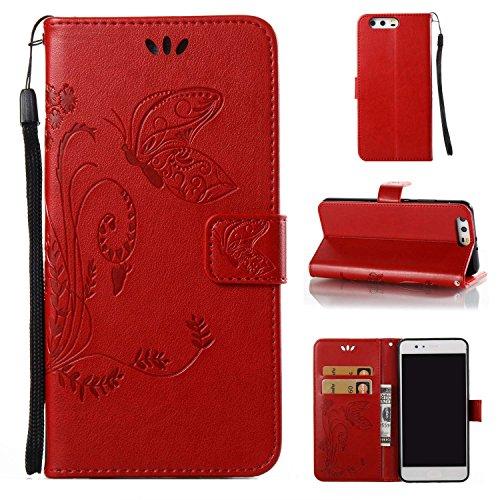 pinlu Flip Cover per Huawei P10 Plus Alta qualità Portafoglio in Artificiale Pelle Colorata Luminoso Coperture Eleganti del Telefono Farfalla Erba Rossa