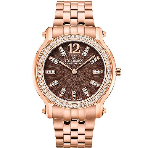 Charmex Women's Eze 31.5mm Steel Bracelet & Case Quartz Brown Dial Watch 6347