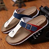 Las parejas masculinas zapatillas de corcho de verano tiene un pasador de pinza arena antideslizante cool zapatillas sandalias tendencia casual que el arrastre y la hembra 40 ,A-11 rojo, azul y blanco Fankou