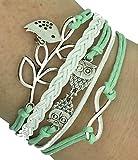 Vintage Handmade Infinity Argento 8 gufo Foglia Uccello braccialetto di cuoio del Wristband compreso scatola regalo per Boolavard ® TM