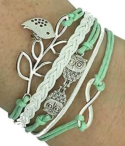 Vintage Handmade Infinity Silver 8 Owl Leaf Bird Leather Bracelet Wristband including gift box by Boolavard® TM