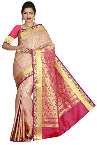 arars Women's Kanchipuram Silk Saree Wedding Bridal Collections ( 210 MB BEIGE...