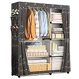 Tragbare Kleiderschrank Oxford Tuch Montage Einzelne Kleidung Abstellraum Sparen Platz Abstellschrank Stahlrohr 105 * 45 * 170 cm (Color : Black)