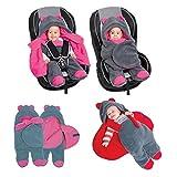 Sevira Kids - Turbulette - chancelière universelle pour poussette ou siège auto - 80 Cm GRIS/FUCHSIA