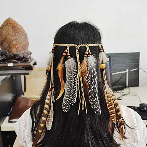 Simly Boho Diadema de plumas Hippie indio diadema 1920s Pluma Cabeza Cadena de pelo Pieza Joyería Accesorios Hefront Mascarada para Mujeres y Niñas