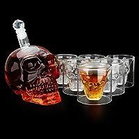 Licor Vino decantador de Whisky AOLVO calavera de cristal taza de cristal transparente Drop Shot Glasses esqueleto taza de café vaso