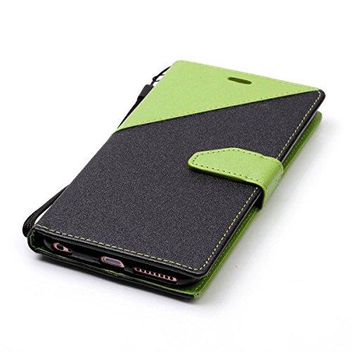 iPhone 6Plus/iPhone 6S Plus Case, Case First due colori design PU pelle portafoglio Case Cover Flip Cover con Cinturino da Polso e Card Slot per iPhone 6Plus/iPhone 6S Plus Grün + Schwarz