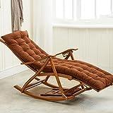 Sessel Zr Schaukelstuhl Erwachsene Siesta Casual Haushalt Balkon Klappstuhl Büro Massivholz Old Man Bambus Lounge Chair -Geeignet für Innen- und Außenbereich (Farbe : Braun)