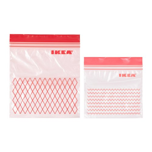 ISTAD Plastic Bag, Green, Pack of 60, Comprises: 30 bags (0.4 l) and 30 bags (1 l), Can be used over and over again since it can be re-sealed.