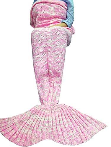 YiZYiF Meerjungfrau Decke Handgemachte Gestrickt Schlafsack Strick Decke Blanket Mermaid Tail Kostüm für Baby Mädchen Damen (Für Damen, Rosa) (Mermaid Schwanz Halloween Kostüme)