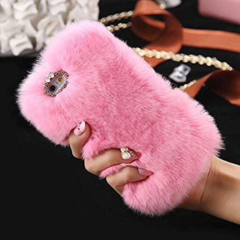 iPhone 5S/SE Case, FLOVEME [Imitation Rabbit Hair ] [Washable] [Adorable Case] [Ultra Soft ] Fluffy Villi Faux Fur Plush Protective Phone Cover,Cute Case for iPhone 5S/SE - pink