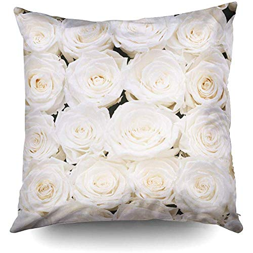 Ducan Lincoln Pillow Case 2PC 18X18,Kissenbezug,Throw Square Kissenbezug,Baumwolle Kissenbezüge White Roses Hintergrundtextur Beidseitig Druck Reißverschluss Kissenbezug -