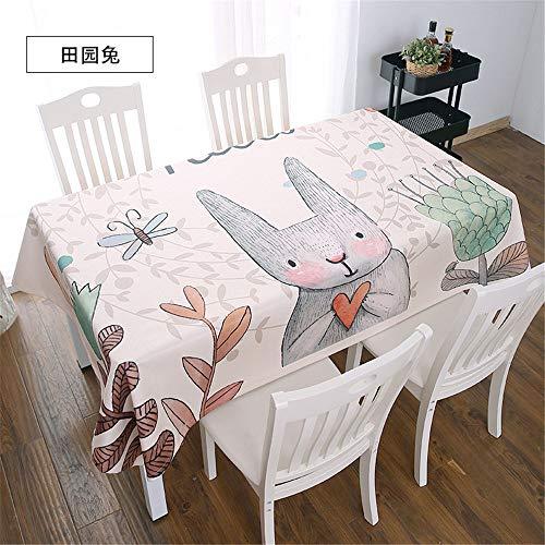 QWEASDZX Tischdecke Baumwolle und Leinen Klein, frisch Digitaldruck Rechteckige Tischdecke Wasserdicht Schmutzabweisende Tischdecke Wiederverwendbar Geeignet für Innen und Außen 140x180cm -
