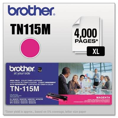 TN115M High-Yield Toner, 4000 Page-Yield, Magenta, Sold as 1 Each -