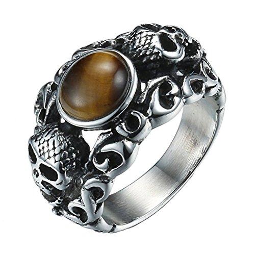 HIJONES Herren Edelstahl Tigerauge Edelstein Stein Gothic Schädel Ring Silber Schwarz Braun Größe 62