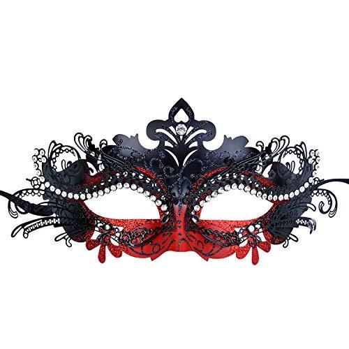 IUGIHT Frauen-Partei-Masken-Metallrhinestone-Abschlussball-PrinzessinMask Lady (Scary Lady Kostüm)