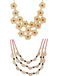 Valentine Gifts: Voylla Layered Combo Set Of Statement Necklaces For Women, Girlfriend & Wife