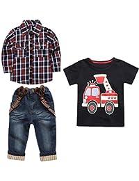 6f852e4c51932 Tonsi 3 Pièces Vêtements de Enfant Hauts à Manches Longues de Grille  +Manche Courte de
