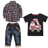 Jimmackey 3pcs Completini, Neonato Ragazzi Plaid Camicia + Maglietta Felpa T-Shirt Cime + Denim Bretelle Pantaloni Bambino Vestiti