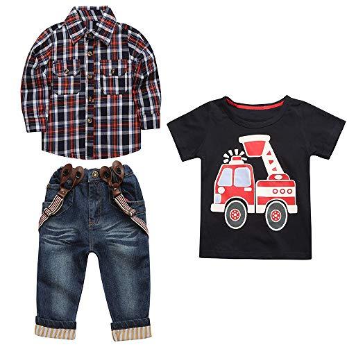 Jiackey 3pcs Completini Neonato Ragazzi Plaid Camicia e Maglietta Felpa T Shirt Cime e Denim Bretelle Pantaloni Bambino Vestiti