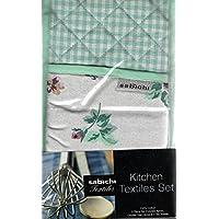 5piezas Cocina textil Set: delantal, manopla para horno y 3TEA Towels- 100% algodón