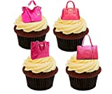 Pink Designer Handtaschen Essbare Kuchen Dekorationen–Stand-Up Wafer Cupcake Topper, rose, 12er-Pack