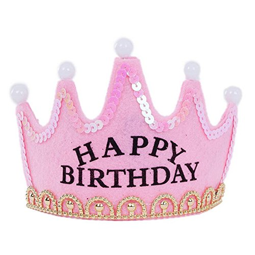 OFT Prinzessin / Prinz Königskrone Krone Diadem Tiara Geburtstag Kopfschmuck mit Led Lampe für Kinder (pink Happy)