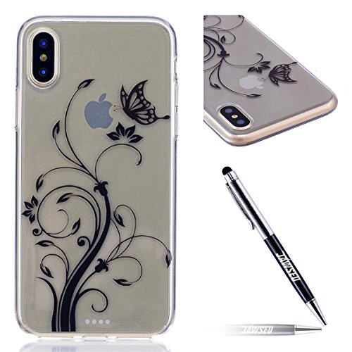 Custodia iPhone X Cover, JAWSEU iPhone X Cassa Caso Custodia Trasparente Flessibile Antiurto Colorato Cristallo Ultra Sottile Morbido TPU Gel Silicone Case Cover per iPhone X Gomma Clear Custodia Prot Farfalla
