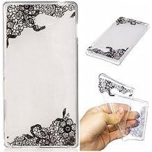 Qiaogle Teléfono Caso - Funda de TPU silicona Carcasa Case Cover para Sony Xperia M2 (4.8 Pulgadas) - HC12 / Cordón Flor