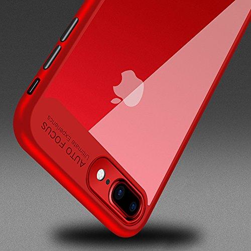 iPhone 6 / 6s Hülle, TOPHAPPY PC + TPU Durchsichtig Transparent Ultra Dünn Hardcover Bumper Schutzhülle für iPhone 6 / 6s Case Cover (iPhone 6 / 6s, Rot) Rot