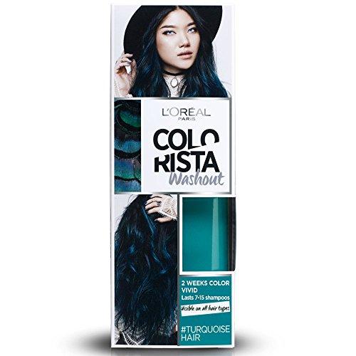 L'Oréal Paris Colorista Washout Vivid, Colorazione Temporanea 2 Settimane, 80 ml, Ottanio (Turquoise)