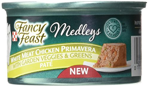 Purina Fancy Feast Wet Cat Food, Elegant Medleys, White Meat Chicken Primavera Pate with Garden Veggies & Greens, 3-Ounce Can by Purina Fancy Feast
