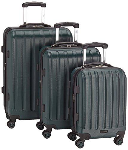 Packenger Premium Koffer 3er-Set Velvet, M/L/XL, Dunkelgrün, Vorteilspaket mit Powerbank und Gutschein