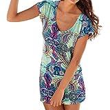 UFACE Promotionen Damen Bohemian Printed Kurzarm Minirock Kleid Mode Casual Retro Print Strand Mini Strandkleid (M, Blau)