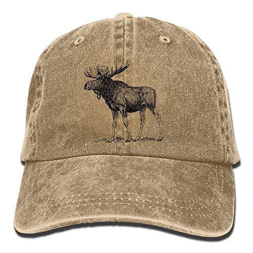 Khzhajian Men Women Classic Denim Moose Adjustable Baseball Cap Dad Hat Low Profile Perfect for Outdoor -