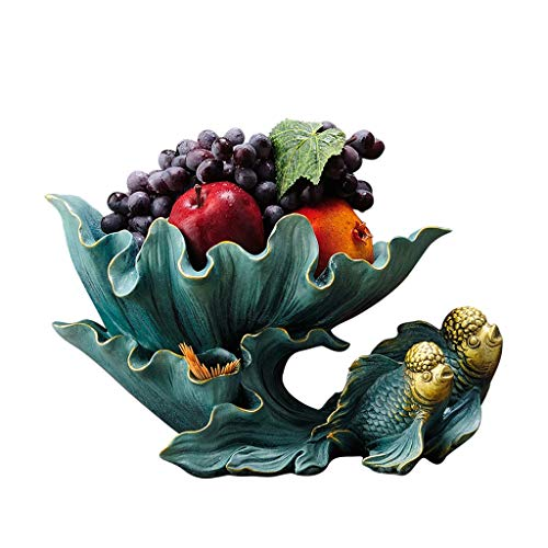 JXLBB Vert Européen Créatif Haut De Gamme Poisson Rouge Assiette De Fruits Maison Salon Table Basse Décoratif Bol De Fruits Crémaillère De Mariage Cadeaux Cadeaux