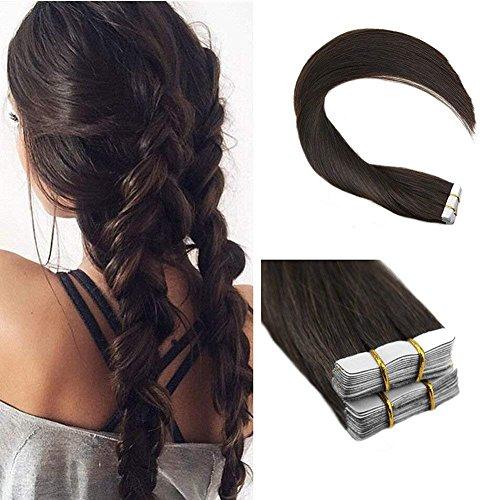 Ugeat 26 Zoll Menschenhaarverlängerungen #2 Dunkelbraune Echthaar Tape in Extensions Haarverdichtung 40pcs/pack