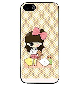 Printvisa Animated Girl Holding Teddies Back Case Cover for Apple iPhone 5S