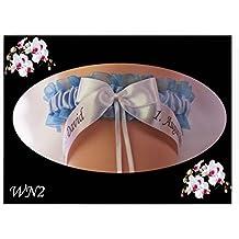 Personalizado boda Liga novia y novio nombres FECHA de la Ceremonia algo azul (WN2)